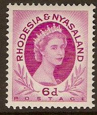 Rhodesia & Nyasaland 1954 6d Bright reddish purple. SG7.