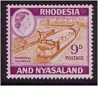 Rhodesia & Nyasaland 1959 9d. Orange-Brown & Reddish Violet. SG2