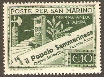 San Marino 1943 10c Green - Press Propaganda series. SG255.