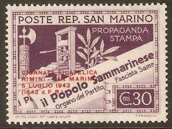 San Marino 1943 30c Purple - Philatelic Exhibition series. SG265