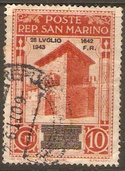 San Marino 1943 10c Brown-orange - Fall of Fascism series. SG268