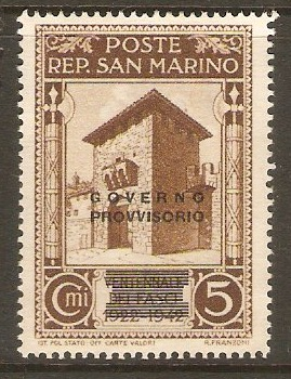 San Marino 1943 5c Brown - Provisional Government series. SG288.