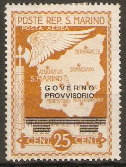 San Marino 1943 25c Provisional Government - Air series. SG299.