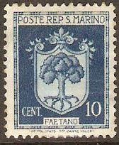San Marino 1945 10c Blue - Arms series. SG309.