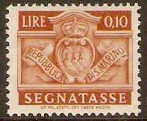 San Marino 1945 10c Brown - Postage Due. SGD310.