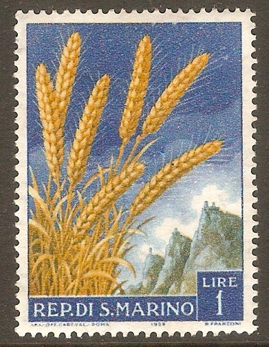 San Marino 1958 1l Fruit and Agriculture. SG552.