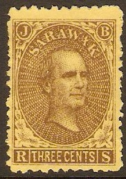 Sarawak 1869 3c Brown on yellow. SG1.