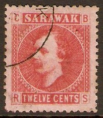 Sarawak 1875 12c Red on pale rose. SG7.