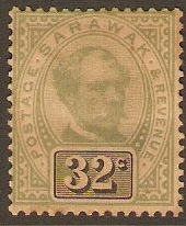 Sarawak 1888 32c green and black. SG19.