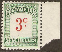 Seychelles 1951 3c scarlet and green. SGD2.