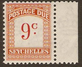 Seychelles 1951 9c scarlet and orange. SGD4.