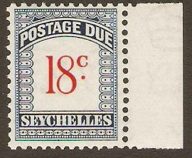Seychelles 1951 18c scarlet and blue. SGD6.