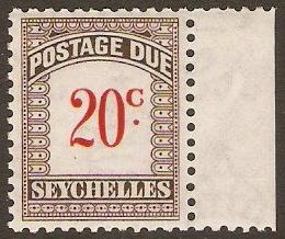 Seychelles 1951 20c Scarlet and brown. SGD7.