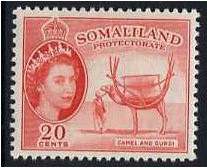 Somaliland Protectorate 1953 20c Scarlet. SG140.