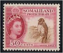 Somaliland Protectorate 1953 50c Brown and rose-carmine. SG143.