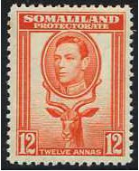 Somaliland Protectorate 1938 12a. Red-Orange. SG100.