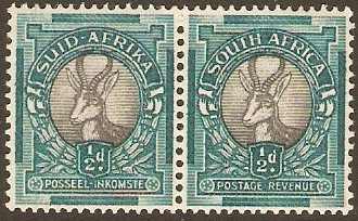 South Africa 1937 ½d Grey and blue green. SG75ccd.