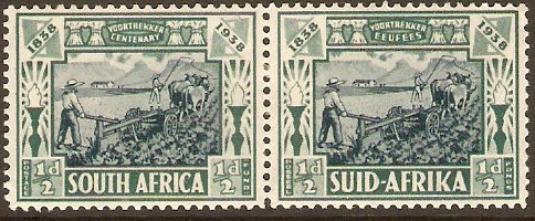 South Africa 1938 ½d + ½d Blue and green. SG76.
