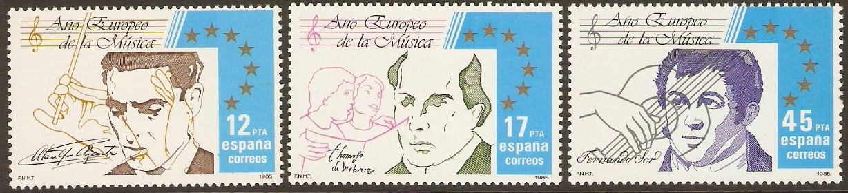 Spain 1985 Music Year Set. SG2832-SG2834.
