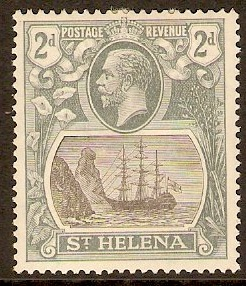 St Helena 1912 2d Black and greyish slate. SG75.