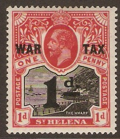 "St Helena 1919 1d +1d Black and carmine-red ""WAR TAX"". SG88."