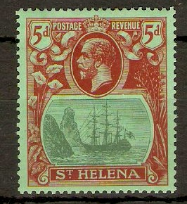 St Helena 1922 5d Green and deep carmine on green. SG103.