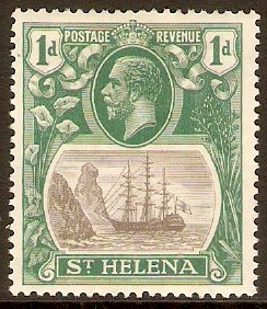 St Helena 1922 1d Grey and green. SG98.