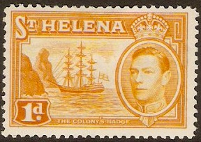 St Helena 1938 1d. Yellow-Orange. SG132a.