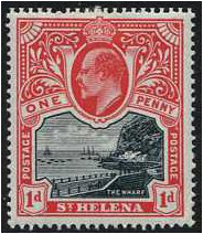 St Helena 1903 1d. Black and Carmine. SG56.