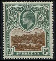 St Helena 1903 �d. Brown and Grey-Green. SG55.