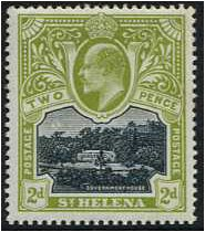 St Helena 1903 2d. Black and Sage-Green. SG57.