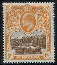 St Helena 1903 1s. Brown and Brown-Orange. SG59.
