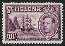 St Helena 1938 10s. Purple. SG140.