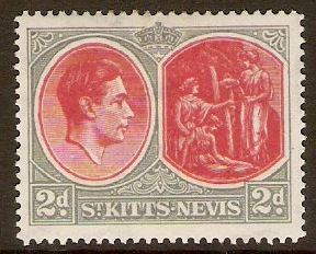 St Kitts-Nevis 1938 2d Scarlet and pale grey. SG71b.