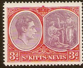 St Kitts-Nevis 1938 3d Reddish lilac and scarlet. SG73c.