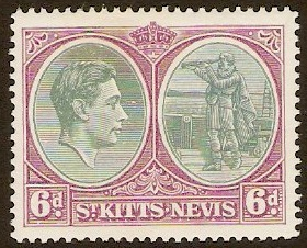 St Kitts-Nevis 1938 6d Green and bright purple. SG74.