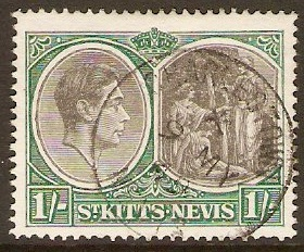 St. Kitts-Nevis 1938 1s Black and green. SG75b.
