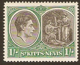 St Kitts-Nevis 1938 1s Black and green. SG75b.