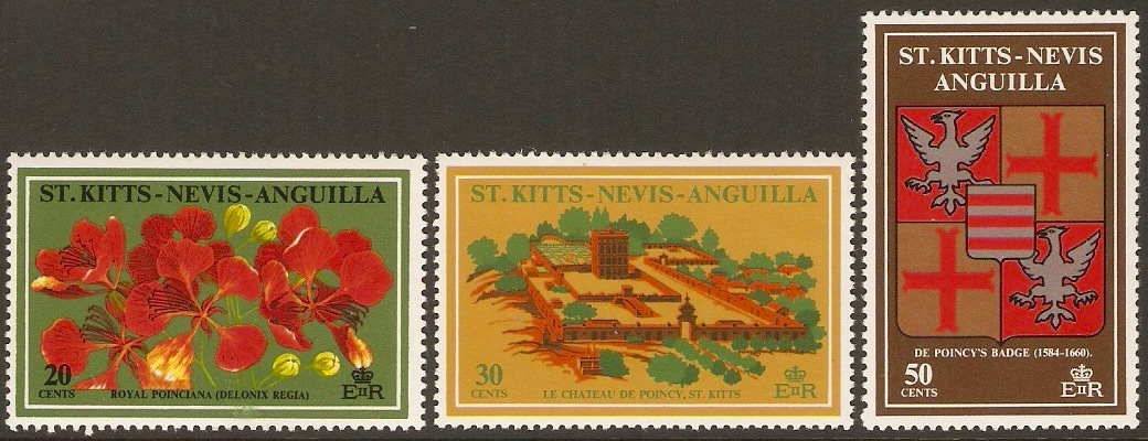 St. Kitts-Nevis 1971 de Poncy Commemoration Set. SG241-SG243.
