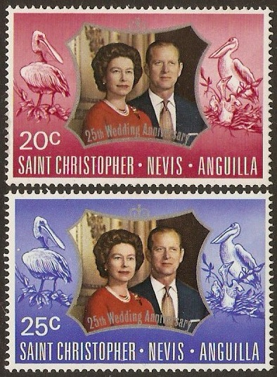 St Kitts-Nevis 1972 Silver Wedding Stamps. SG256-SG257.