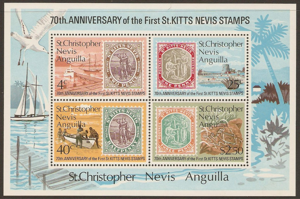 St. Kitts-Nevis 1973 Stamp Anniversary Sheet. SGMS289.