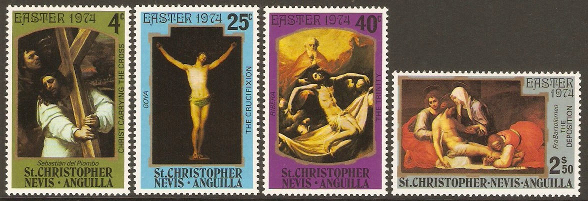 St. Kitts-Nevis 1974 Easter Paintings Set. SG296-SG299.
