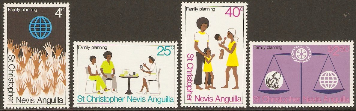 St. Kitts-Nevis 1974 Family Planning Set. SG303-SG306.