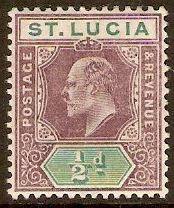 St Lucia 1902 ½d Dull purple and green. SG58.