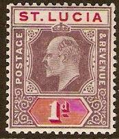 St Lucia 1902 1d Dull purple and carmine. SG59.