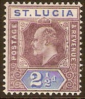 St Lucia 1902 2½d Dull purple and ultramarine. SG60.