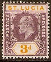 St Lucia 1902 3d Dull purple and yellow. SG61.
