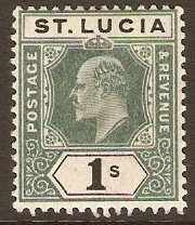 St Lucia 1902 1s Green and black. SG62.
