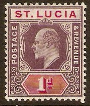 St Lucia 1904 1d Dull purple and carmine. SG66.