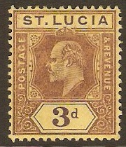 St Lucia 1904 3d Purple on yellow. SG71.